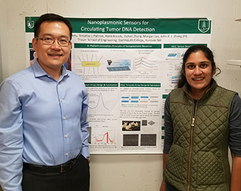 Professor John Zhang, PhD (left), and graduate student Amogha Tadimety (right),