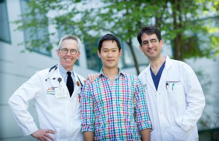 Tuck MBA student Eugene Hooi with his D-H care team: NCCC oncologist Thomas H. Davis, MD, (left), and chief of Otolaryngology, Head & Neck Surgery Joseph A. Paydarfar, MD, FACS (right).